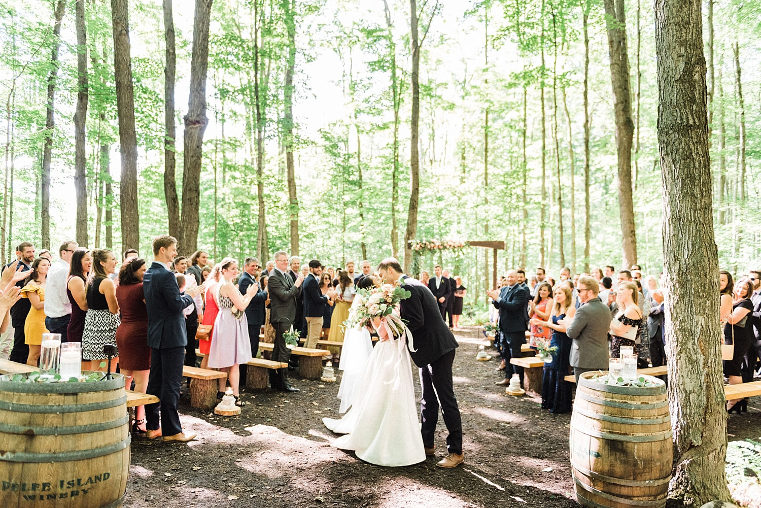 Couple's wedding in the forest at Temple's sugarbush in the Ottawa Valley