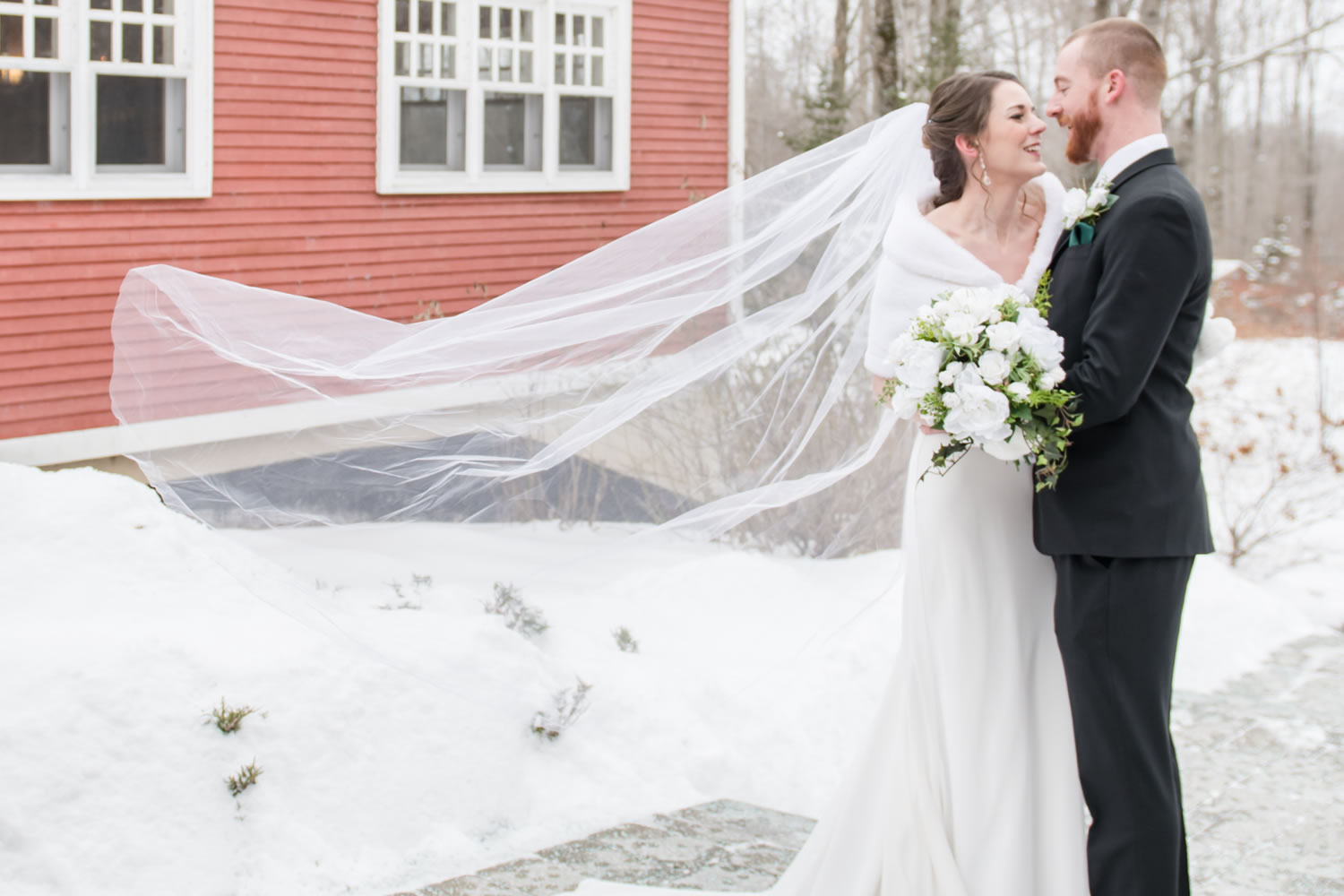 Bride and groom at winter wedding venue Temple's of Ottawa